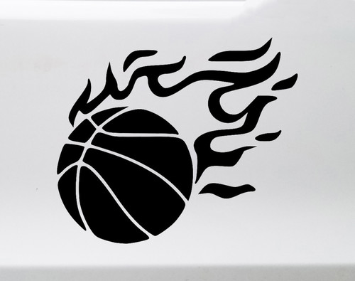 Flaming Basketball Vinyl Decal - Flames Ball Hoops Court Team - Die Cut Sticker
