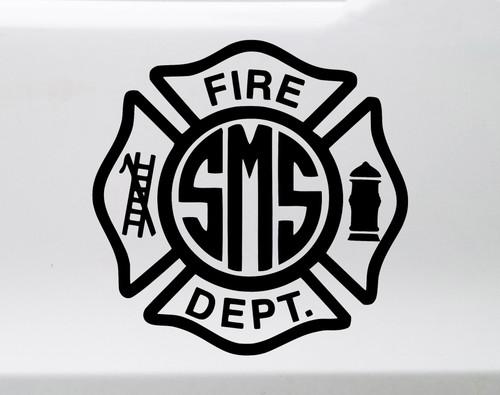Fire Department Monogram Vinyl Decal - Maltese Cross Personalized - Die Cut Sticker