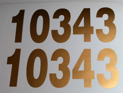 "set of two 3""h x 8""w HOA Mailbox Numbers in Gold - Vinyl Decals - Helvetica - Die Cut Stickers"