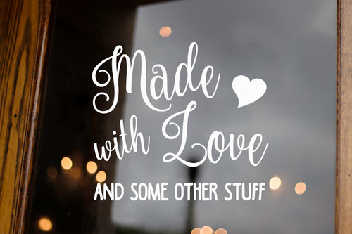 Made with Love and Other Stuff Vinyl Decal V2 - Kitchen Crock Pot Decor - Die Cut Sticker