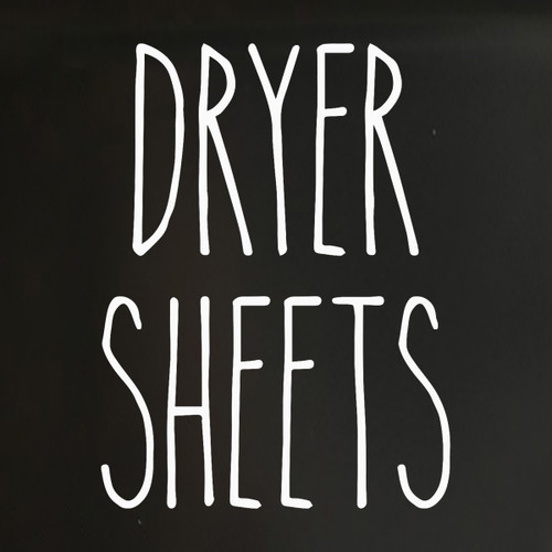 Dryer Sheets - Rae Dunn Inspired Vinyl Sticker - Laundry Room Storage Home Organization Farmhouse - Die Cut Decal