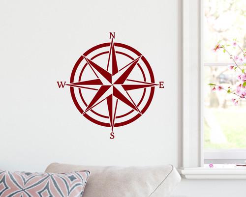 Compass Rose Vinyl Decal V4 -Travel Wander Adventure - Die Cut Sticker