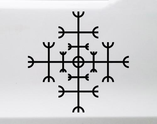 Helm of Awe Vinyl Decal V2 - Norse Mythology - Helm of Terror Viking Symbol - Die Cut Sticker