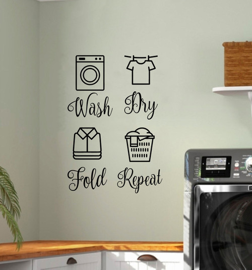 Wash Dry Fold Repeat Vinyl Decals - Laundry Room - Die Cut Stickers - set of 4