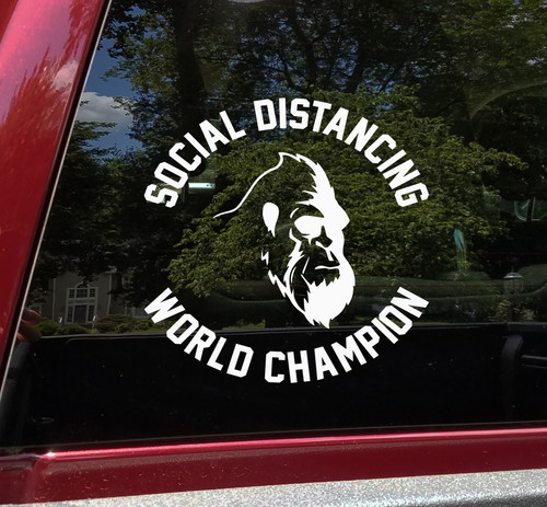 Bigfoot Social Distancing World Champion Vinyl Decal V2 - Die Cut Sticker