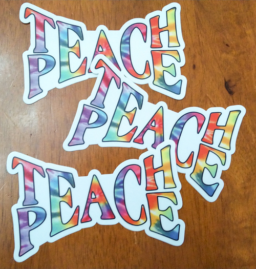"3-pack TEACH PEACE 5"" x 3"" Die Cut Vinyl Decal Bumper Stickers - Tie Dye Hippie Grateful Dead Love Freedom"