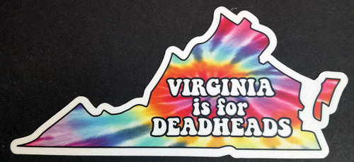 "Set of 2 Virginia is for Deadheads 6.5"" x 3"" Die Cut Vinyl Decal Bumper Stickers - The Grateful Dead Tie Dye Jerry Garcia - 2-pack"