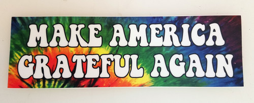 "Set of 2 MAKE AMERICA GRATEFUL AGAIN 8"" x 2.5"" Tie Dye Die Cut Vinyl Decal Bumper Stickers - The Grateful Dead Jerry Garcia - 2-pack"