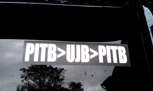 "Set of 2 PITB>UJB>PITB 8.5"" x 2"" Die Cut Vinyl Bumper Sticker Decals - The Grateful Dead - Jerry Garcia  - 2-pack"