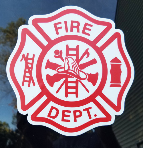 "Set of 2 FIRE DEPARTMENT Die Cut Vinyl Decals Stickers 5"" x 5"" Maltese Cross Firefighter FD VFD - 2-pack"