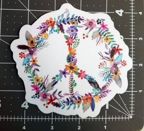 "Set of 2 PEACE SIGN of FLOWERS 4.5"" Vinyl Die Cut Decals Stickers - Floral Gypsy Hippie Decal - 2-pack"