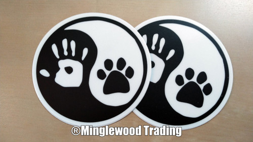 "Set of 5 - 3"" Yin Yang Hand Paw Stickers - Dog Cat Puppy Kitten Animal Pawprint - Vinyl Die Cut Decals - 5-pack"