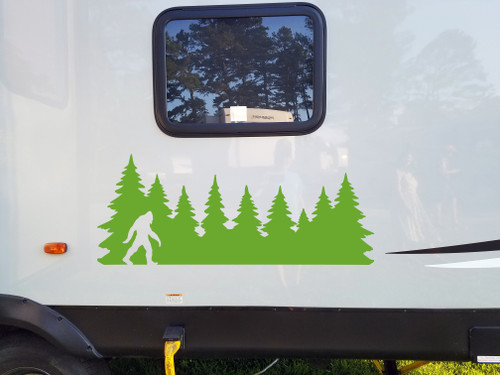 Bigfoot in Treeline V2 Vinyl Decal - Pine Trees Forest PNW Sasquatch - Die Cut Sticker