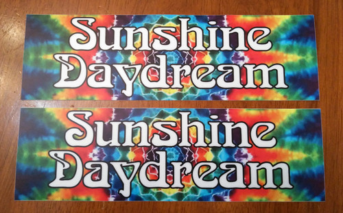 "Set of 2 Sunshine Daydream 8"" x 2.5"" Tie Dye Die Cut Vinyl Decal Bumper Stickers - The Grateful Dead Jerry Garcia - 2-pack"