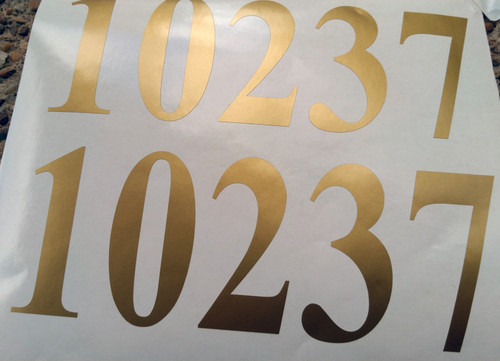 "set of two 3""h x 8""w HOA Mailbox Numbers in Gold - Vinyl Decals - Times New Roman - Die Cut Stickers"