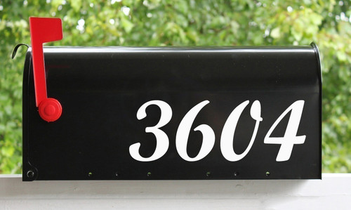 """Script Mailbox Numbers - Custom Vinyl Sticker - 1"""" to 10"""" tall - Name Home House Office Address- Die Cut Decal - SCRIPTMT"""