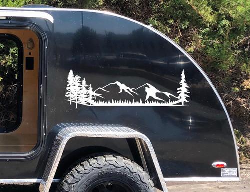 Mountains Forest Scene Vinyl Decal V1 - Camper RV Travel Trailer Graphics 4x4 - Die Cut Sticker