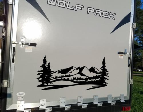 Mountains Forest Scene Vinyl Decal V2 - Camper RV Travel Trailer Graphics 4x4 - Die Cut Sticker