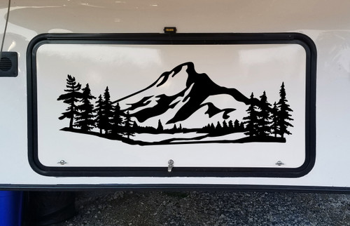Mountains Forest Scene Vinyl Decal V3 - Camper RV Travel Trailer Graphics 4x4 - Die Cut Sticker