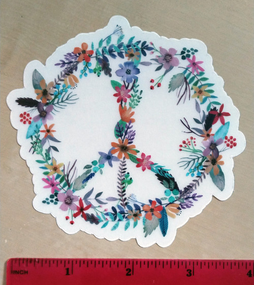 """Flowers Peace Sign 4"""" Clear Die Cut Sticker - Floral Gypsy Hippie Decal"""