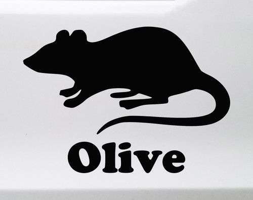 Rat with Personalized Name Vinyl Decal - Rodent Pet - Die Cut Sticker