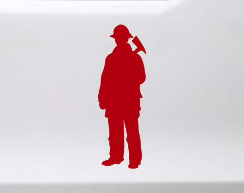 Firefighter Vinyl Decal - Standing Fireman Firewoman Axe FD - Die Cut Sticker