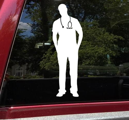 Healthcare Worker Vinyl Decal - Male Medical Nurse ER Doctor - Die Cut Sticker