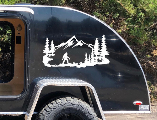 Bigfoot Mountain Trees Scene Vinyl Decal V3 - Camper RV Travel Trailer Graphics 4x4 - Die Cut Sticker