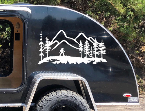 Bigfoot Mountain Trees Scene Vinyl Decal V4 - Camper RV Travel Trailer Graphics 4x4 - Die Cut Sticker