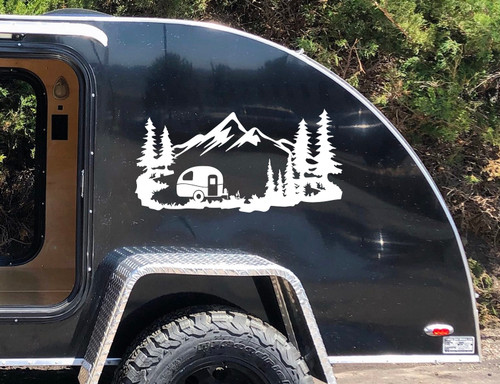 Mountain Travel Trailer Scene V1 Vinyl Decal - Camping - Forest - Die Cut Sticker