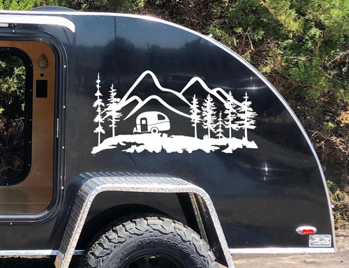 Mountain Travel Trailer Scene V2 Vinyl Decal - Camping - Forest - Die Cut Sticker