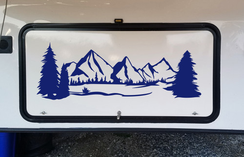 Mountains Forest Scene Vinyl Decal V6 - Camper RV Travel Trailer Graphics 4x4 - Die Cut Sticker