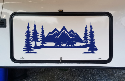 Mountains Bears Forest Scene Vinyl Decal V2 - Camper RV Travel Trailer Graphics 4x4 - Die Cut Sticker