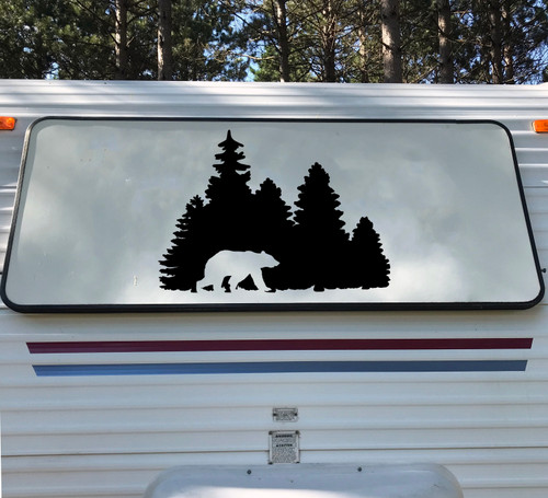Bear in Treeline V1 Vinyl Decal - Forest Grizzly Trees - Die Cut Sticker