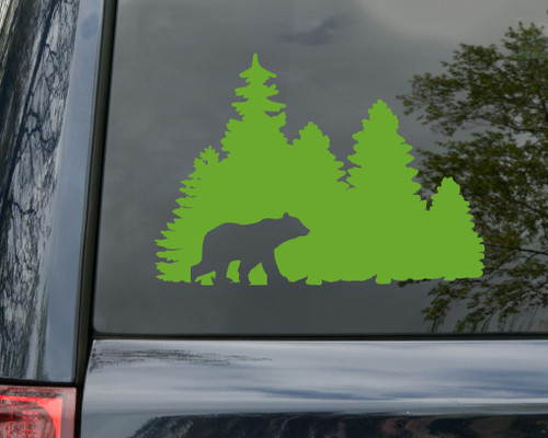Bear in Treeline V3 Vinyl Decal - Forest Grizzly Trees Camping Hiking - Die Cut Sticker