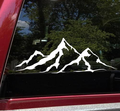 2-pack Mountain Scene Vinyl Decals - Jeep Camper 4x4 RV Graphics - Die Cut Stickers