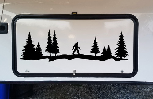 Bigfoot in Treeline V4 Vinyl Decal - Sasquatch Pine Forest Woods - Die Cut Sticker