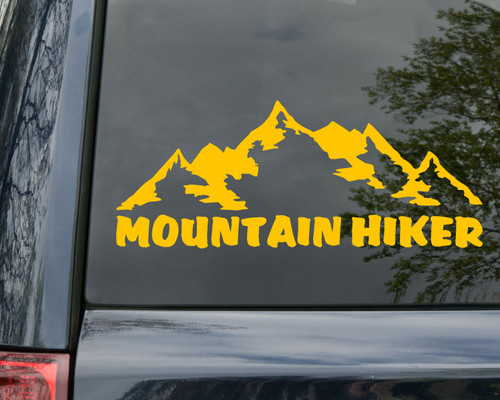 Mountain Hiker Vinyl Decal - Trail Hiking Camping - Die Cut Sticker