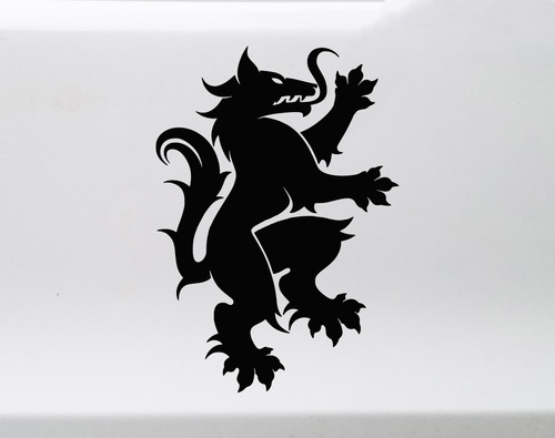 Heraldic Wolf Vinyl Decal V1 - Coat of Arms Heraldry Charge - Die Cut Sticker