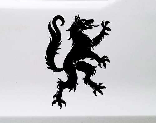 Heraldic Wolf Vinyl Decal V2 - Coat of Arms Heraldry Charge - Die Cut Sticker