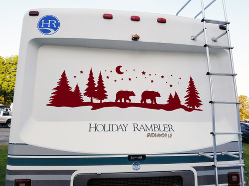 Bears Moon Stars Trees Scene Vinyl Decal - Forest Camper Graphics Mama Papa - Die Cut Sticker