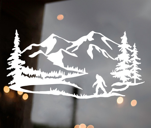 Bigfoot Mountain Trees Scene Vinyl Decal V6 - Camper RV Sasquatch Graphics - Die Cut Sticker