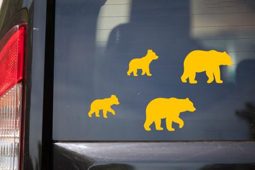 Bear Family Vinyl Decal Set V3 - Mama Papa Grizzly Kodiak - Die Cut Stickers
