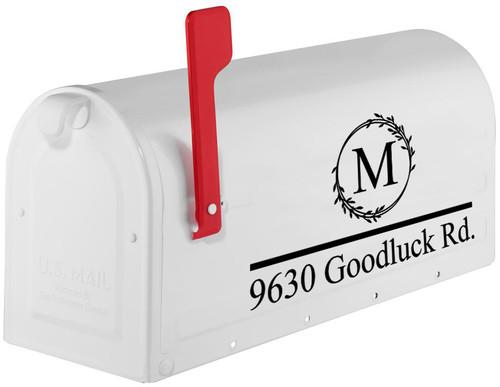 Monogram and Address Mailbox Vinyl Decal - Personalized - Die Cut Sticker