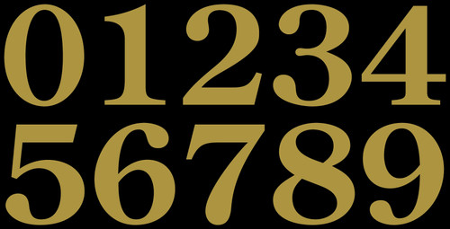 3-pack Mailbox Numbers - 1.75-inch + 1-inch Century Old Style - Die Cut Stickers - Gold