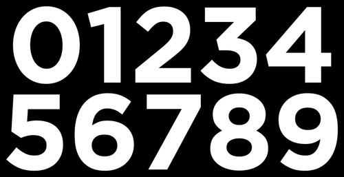 3-pack Mailbox Numbers - 1-inch Gotham - Die Cut Stickers - White