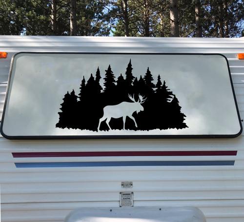 Moose in Treeline Vinyl Decal - RV Camper Graphics Travel Trailer - Die Cut Sticker