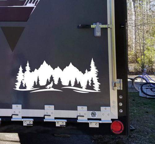 Howling Wolf Mountain Scene Vinyl Decal V3 - RV Motorhome Graphics - Die Cut Sticker