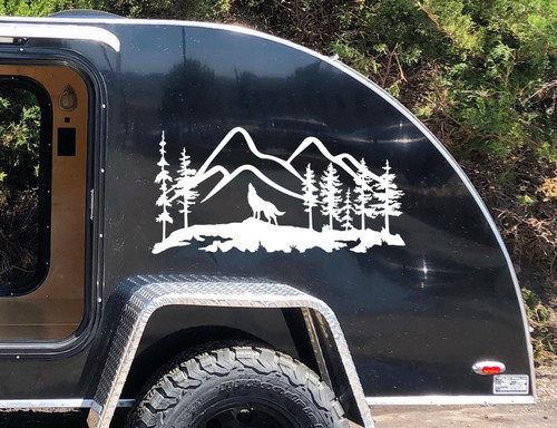 Howling Wolf Mountain Scene Vinyl Decal V4 - RV Camping Graphics - Die Cut Sticker