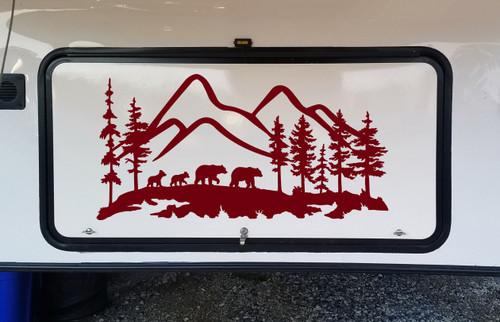 Bear Family Mountain Scene Vinyl Decal - RV Motorhome Graphics - Die Cut Sticker